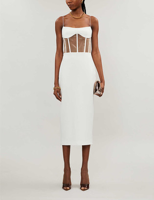 Rasario Boned-detail crepe midi dress