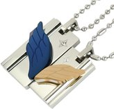 "Dahlia Wing of Love Stainless Steel Couples Blue and Gold-Tone Angel Wings Pendant Necklace Set 18"" and 20"""