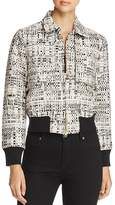 Badgley Mischka Metallic Tweed Bomber Jacket
