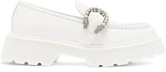 Gucci Hunder Dionysus-buckle Leather Loafers - White