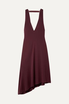 Tibi Open-back Asymmetric Crepe Midi Dress - Burgundy