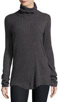 Sweet Romeo Turtleneck Ribbed Sweater, Charcoal