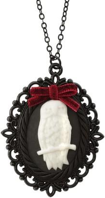Poporcelain Dark Romance Porcelain Owl Cameo Necklace