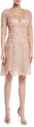 Marchesa Metallic Filigree Embroidered Cocktail Dress w/ Velvet Trim