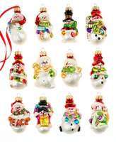 Holiday Lane Box of 12 Mini Snowman Ornaments, Created for Macy's