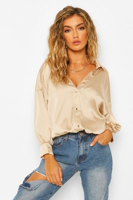 boohoo Satin Drop Shoulder Shirt