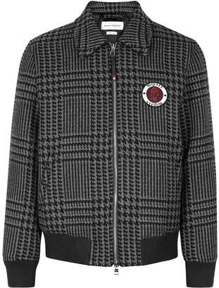 Alexander McQueen Houndstooth Wool Bomber Jacket