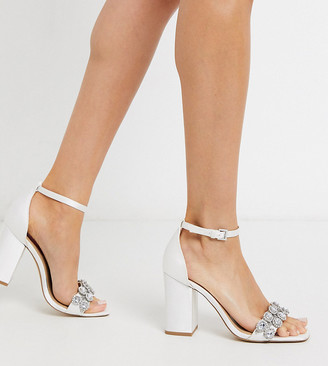 London Rebel wide fit embellished bridal block heel sandal in ivory-Cream
