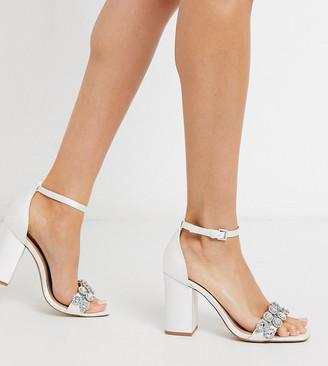 London Rebel wide fit embellished bridal block heel sandal in ivory