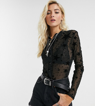 Rokoko fitted button front sheer shirt in star print-Black