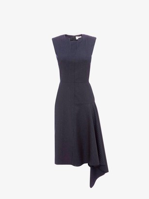 Alexander McQueen Asymmetric Drape Pinstripe Dress