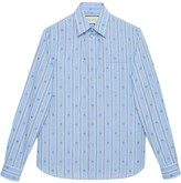 Gucci Bee stripe fil coupe cotton shirt