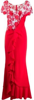 Talbot Runhof Boccacio ruffled floral-macrame gown