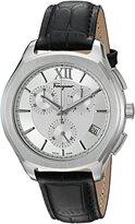 Salvatore Ferragamo Men's 'LUNGARNO CHRONO' Quartz Stainless Steel and Leather Casual Watch, Color:Black (Model: FLF950015)