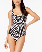 Calvin Klein Shirred Animal-Print One-Piece Swimsuit Women's Swimsuit