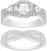 Bliss Cubic Zirconia & Sterling Silver Asscher-Cut Crossover Ring Set