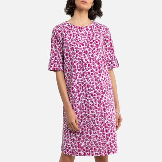 Anne Weyburn Floral Cotton Shift Dress in Broderie Anglaise