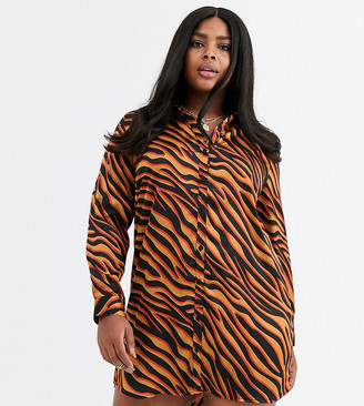 AX Paris Plus shirt dress in bright zebra print
