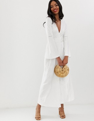 Asos Design DESIGN broderie wrap maxi dress-White