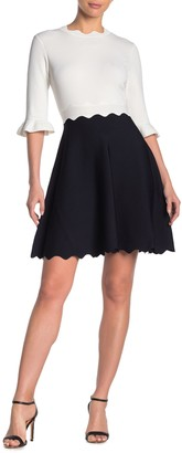 Ted Baker Lauron Scalloped Colorblock Skater Dress