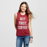 "Fifth Sun Women's ""But First, Coffee"" Graphic Muscle Tank Burgundy Juniors')"