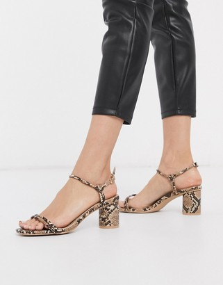Raid Elisa mid heeled sandals in natural snake