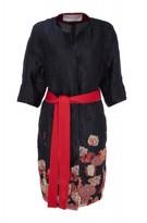 Amanda Wakeley Black & Red Jacquard Collarless Coat