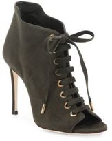 Jimmy Choo Mavy 100 Suede Peep-Toe Lace-Up Booties