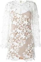 Self-Portrait floral motif see-through dress - women - Polyester/Spandex/Elastane - 14
