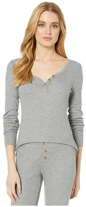 PJ Salvage Texture Lounge Henley (Heather Grey) Women's Sweater