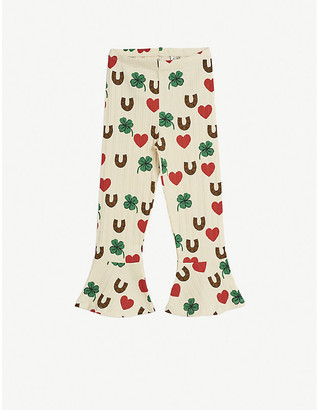 Mini Rodini Clover-print flared stretch-organic cotton trousers 4-11 years
