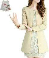 Donalworld Women Long Trench Coat Slim Long Cardigan Asian Size XL