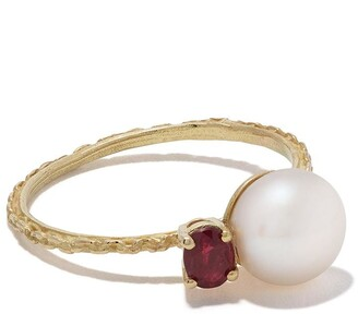 Wouters & Hendrix Gold 18kt yellow gold UZERAI Exclusive Pearl & Ruby ring