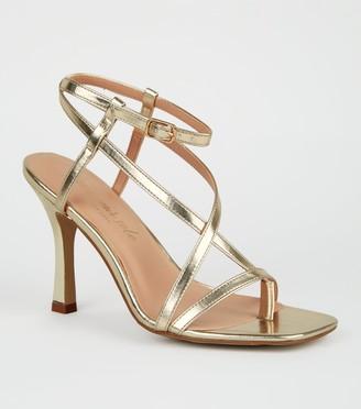 New Look Metallic Strappy Slim Flared Heels