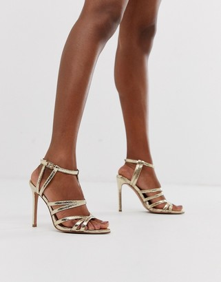 Asos Design DESIGN High Maintenance strappy pointed heeled sandals in gold snake