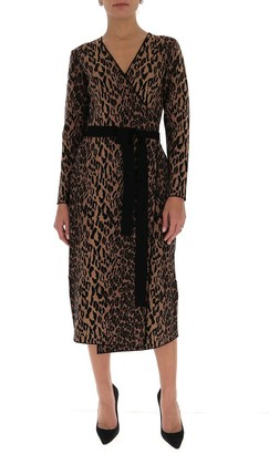 Diane von Furstenberg Damaris Knit Midi Wrap Dress