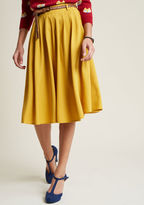 ModCloth Breathtaking Tiger Lilies Midi Skirt in Mustard in 3X - Full Skirt Long