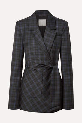 Tibi Marvel Oversized Checked Wool-blend Twill Wrap Blazer - Black