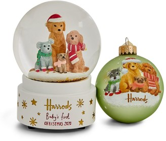 Harrods My First Christmas 2020 Snowglobe and Bauble Set