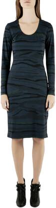 Preen by Thornton Bregazzi Blue Camouflage Print Jersey Long Sleeve Avery Dress S