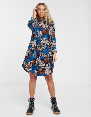 Monki printed midi shirt dress in blue