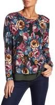Bobeau Floral Open Back Sweater