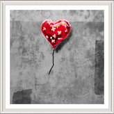 """Alonline Art - Balloon Heart Plaster Banksy White FRAMED POSTER (Print on 100% Cotton CANVAS on foam board) - READY TO HANG 