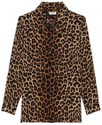 Saint Laurent Silk Leopard Print Blouse