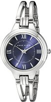 Anne Klein Women's AK/1441BLSV Blue Dial Silver-Tone Open Bangle Watch