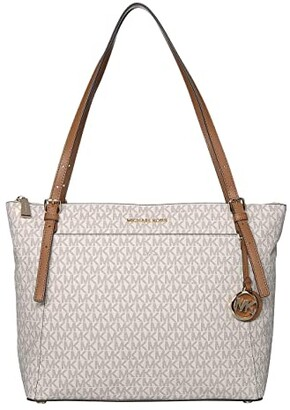 MICHAEL Michael Kors Voyager Large East/West Top Zip Tote (Vanilla/Acorn) Tote Handbags