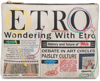 Etro Newspaper-Print Zipped Clutch
