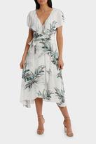 Frill Neck Birdi White Print Midi Dress
