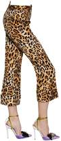 DSQUARED2 Cropped Leopard Printed Satin Pants