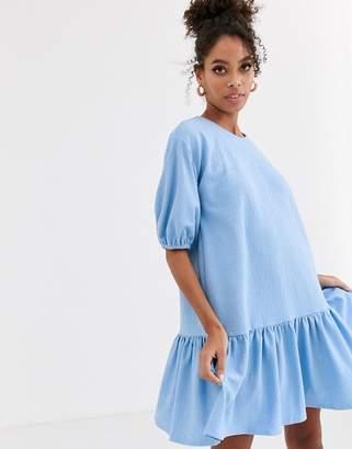 Asos Design DESIGN textured smock dress with pephem-Blue
